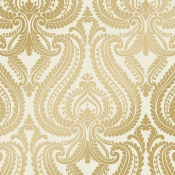 I Love Wallpaper Shimmer Damask Metalic Wallpaper Cream / Gold