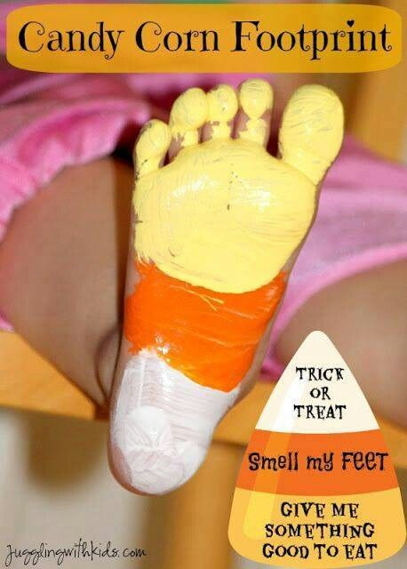 A must do... Three year old feet will look super sweet as candy corn. Candy corn footprint craft