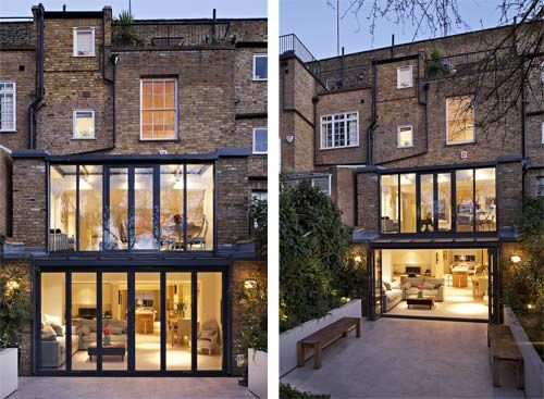 Double storey glass lean to overlooking garden for Terrace extension