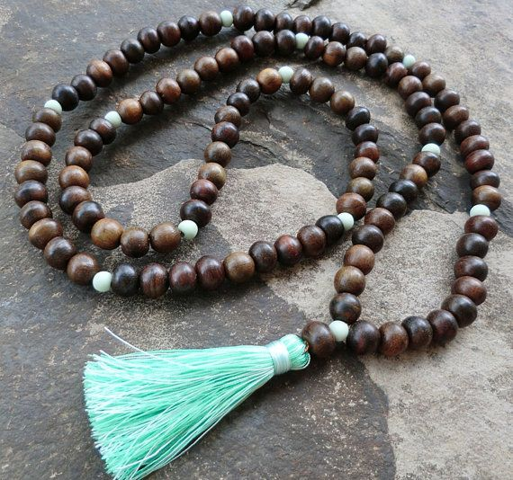 Dark chunky wooden bead 108 mala tassel necklace with glass mint colored marker beads and mint tassel
