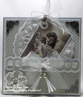 Handmade card by DT member Anja with Creatables Tassel - Trendy (LR0390), Craftables Ribbon Border (CR1349), Ribbon Doily with Rosette (CR1350) and ATC & Pocketletter Die (PL6501) from Marianne Design