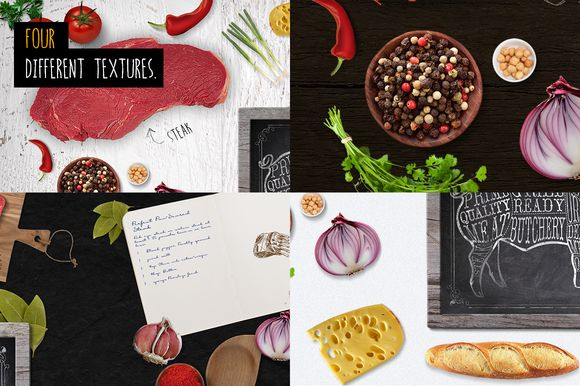 Food on table scene Mock Up by Marcoo on @creativemarket