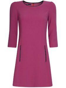 Офисное платье - Короткое розовое платье с кожаной отделкой Oodji