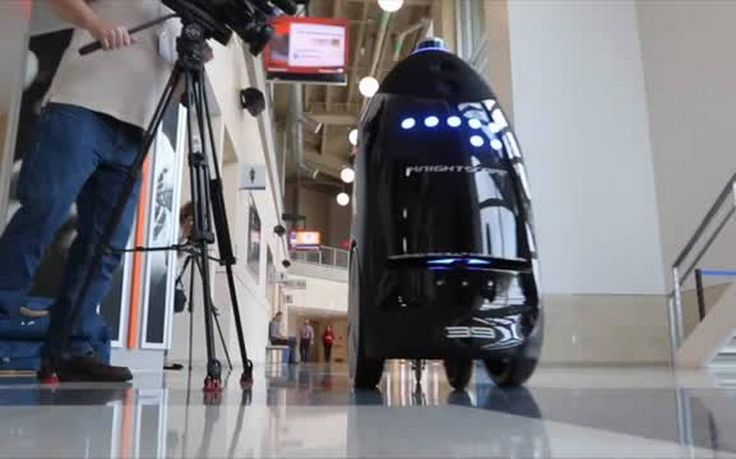 CRIME FIGHTING ROBOTS -  The developer of the robot series, former UTA aerospace student Stacy Stephens, said the robots' tasks include scanning license plates, monitoring restricted areas, giving directions, videotaping and collecting digital information.