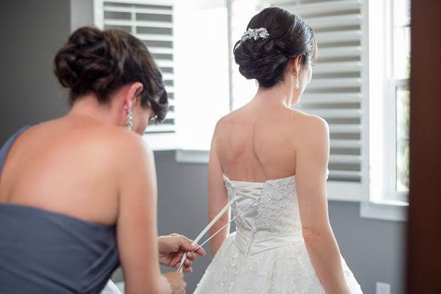 Bride Michele & Maid of Honor, hair by Claudine & make up by Wendy at Civello Oakville (for bookings contact bridal@civello.com) photography by Krista Fox photography (www.kristafox.com)