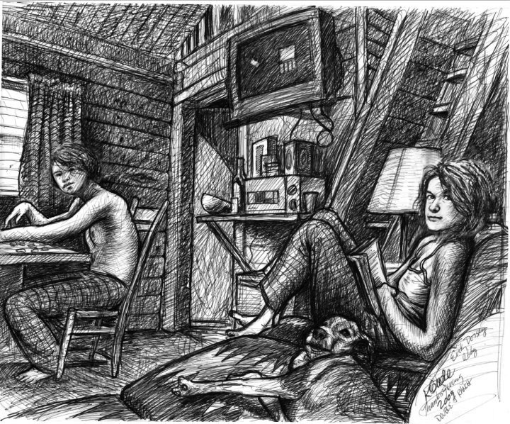Drawing of my wife, son and our dog Abby in a cabin we rented in 2009. —Karl Gude