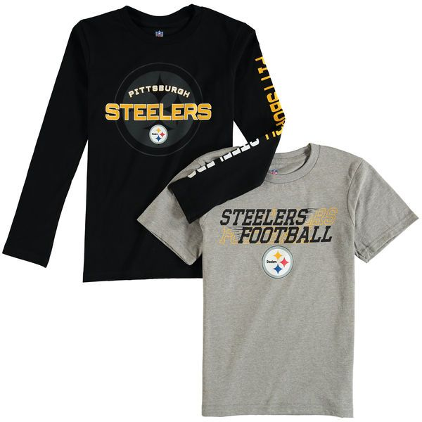 Pittsburgh Steelers Youth Fan Gear United T-Shirt Combo Pack - Gray/Black - $31.99