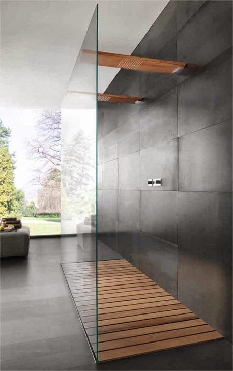 Simple modern bathroom in dark grey floor and wall tiles, wood flooring in the shower and double wood shower head