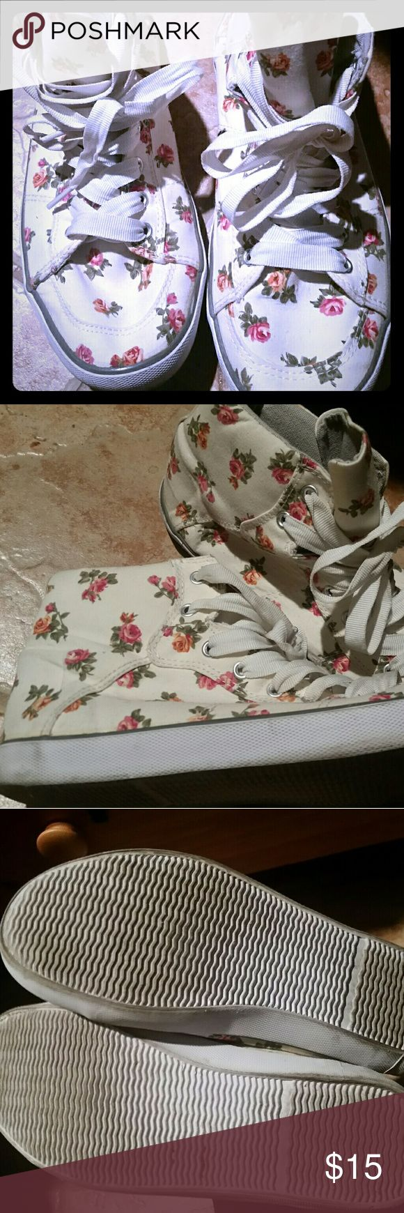 Joe Brown's tennies Pretty white tenures with pink roses, something to wear with a dress, keeping it girly. In very nice condition. Joe Browns Shoes Sneakers