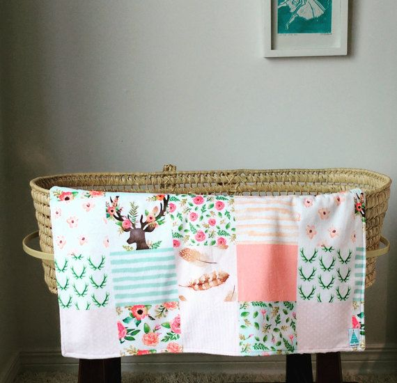 Beautiful cheater quilt coral and mint baby minky blanket  #minitipi