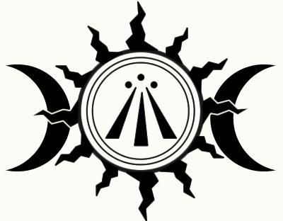 """'The Awen' - Celtic/Druidic symbol in the center of the triple moon and sun. Awen is a Welsh word for """"(poetic) inspiration"""". In the Welsh tradition, Awen is the inspiration of the poet bards; or, in its personification, Awen is the inspirational muse of creative artists in general: the inspired individual (often, but not limited to being, a a poet or a soothsayer) is described as an awenydd."""
