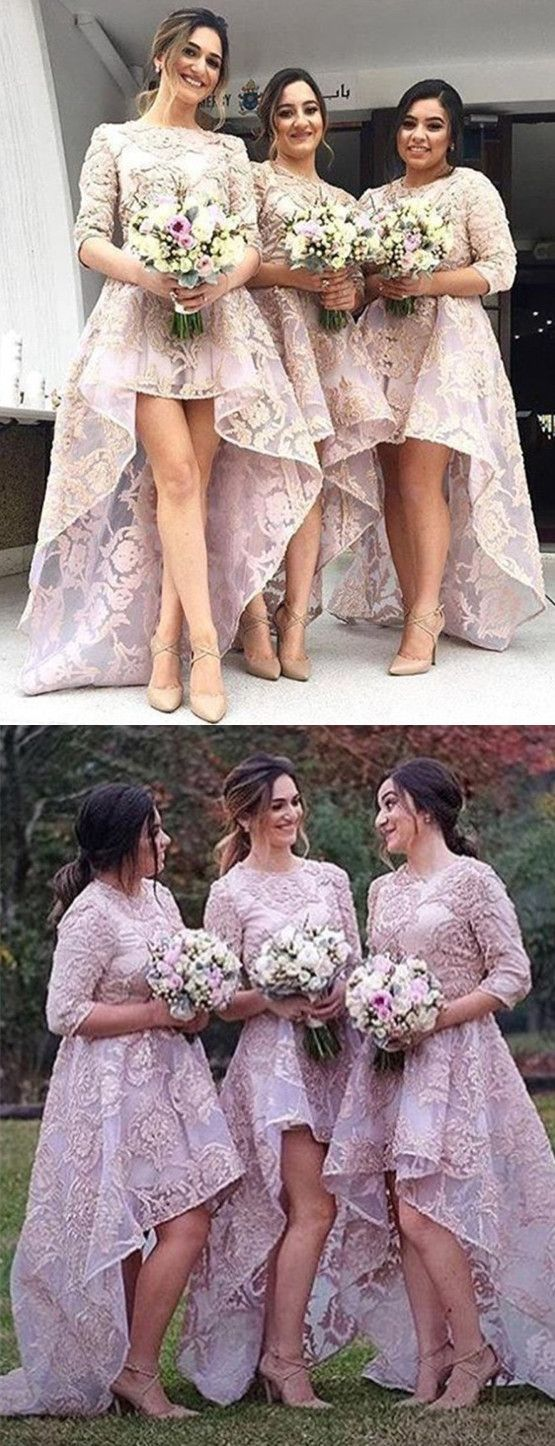 Chic Pink Jewel 3/4 Sleeves High Low Organza with Appliques Bridesmaid Dress