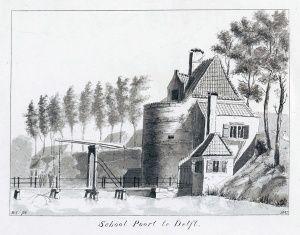 De stadsmuur van Delft en haar acht stadspoorten - WikiDelft  -- Schoolpoort