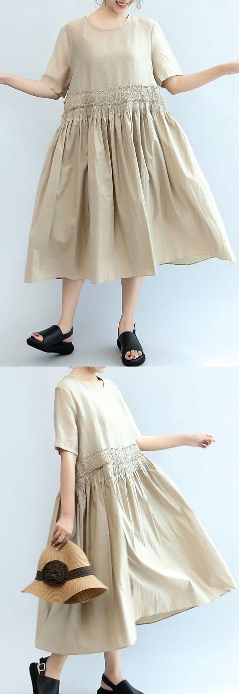 nude casual cotton dresses plus size elastic waist sundress short sleeve maxi dress  3