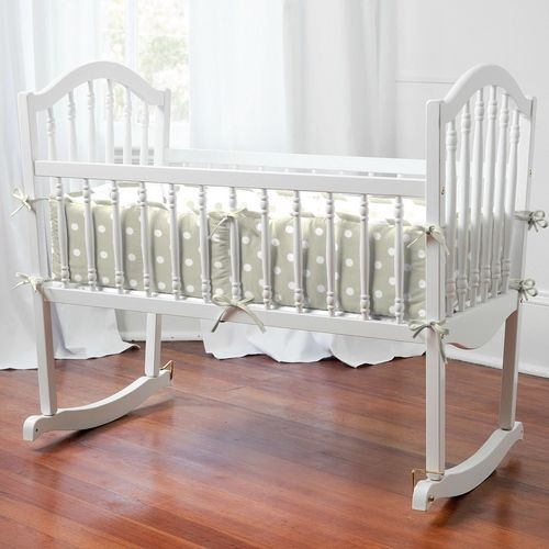 Taupe and White Dots and Stripes Cradle Bedding | Carousel Designs