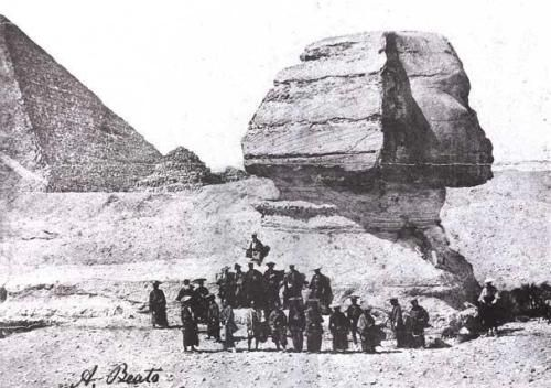 Samurai Members of the Ikeda Nagaoki's Japanese Mission to Europe in front of the Sphinx, Egypt, by Antonio Beato, 1864.