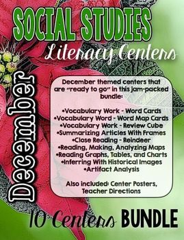 Social Studies Literacy Centers! TEN CENTERS! Do you struggle to find time to teach Social Studies? This is the answer for you ! Super-organized and easy to use! Includes everything teachers need: Primary Sources, Center Posters, Teacher Directions, Center Materials 3rd-5th grade!