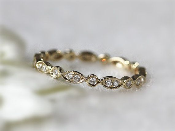 0.32ct VVS Diamond Ring 14K Yellow White Rose Gold Milgrain Bezel Diamond Ring Full Eternity Wedding Band Anniversary Ring Diamond Band