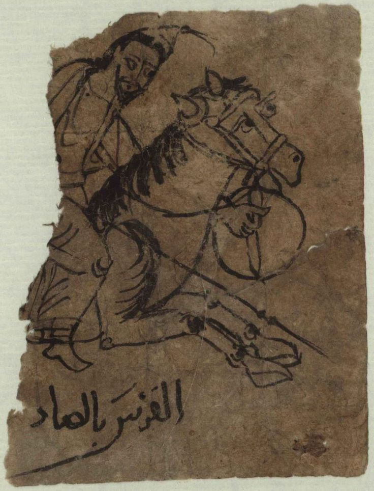 An Arab Cavalryman in a 10th Century Papyrus Drawing  Papyrus fragment, 10th century AD, Egyptian, Rainer Collection, Österreichische Nationalbibliothek, Vienna. ID-Nr. RZ00001936 Inv.-Nr. A. Ch. 11416 Pap recto Ein Arabisches Reiterbild des X. Jahrhunderts 9.5 x 7.3 cm  Referenced on p17 MAA 89, Byzantine Armies 886-1118 by Ian Heath 10th century Arab horseman. The Arabs had been the Empire's main enemy since the 7th century, and Emperor Leo VI said that it was the ever-present Moslem…