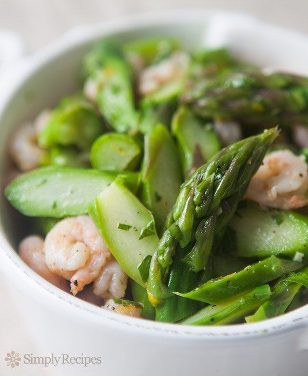 Asparagus Salad with Shrimp ~ A simple asparagus salad with thinly sliced asparagus, shrimp, garlic, parsley, and dressed with olive oil and lemon juice. ~ SimplyRecipes.com