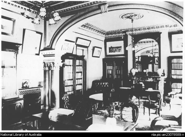 [Library and writing room at the Hydro Majestic Hotel,