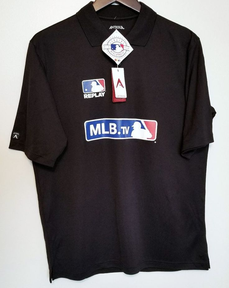 NEW Antigua Men's Polo Medium MLB TV Replay Black NWT M Baseball #Antigua
