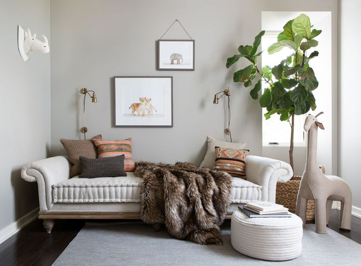 Modern Neutral Safari-Inspired Nursery with Daybed - love the @rhbabyandchild furniture and decor in this chic baby room!
