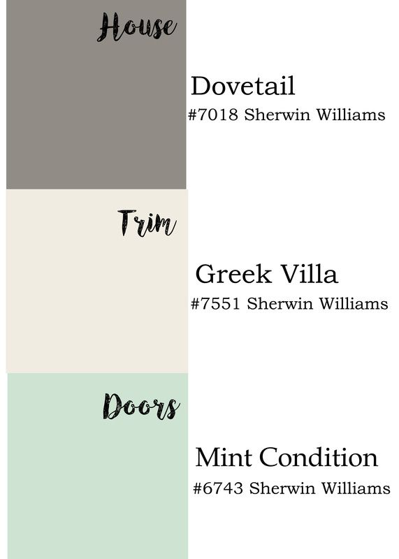 Exterior paint colors by Sherwin Williams: dovetail, Greek villa and mint…
