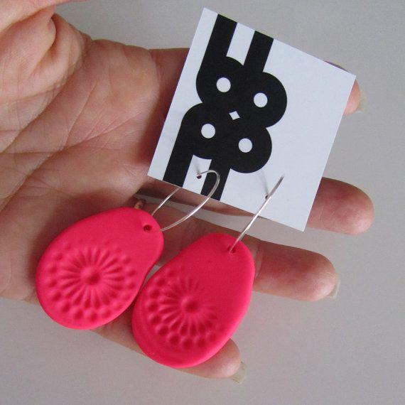 neon pink chrysanthemum polyclay hoop earrings by bbppdesigns, $15.00