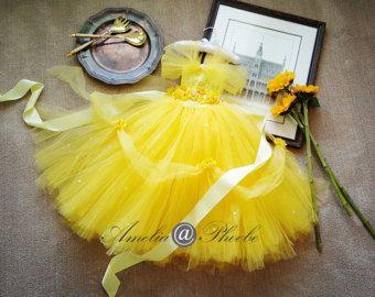 Princess Belle Tutu Dress With Flower Belt, Beauty and The Beast, Yellow Flower Girl Tutu,