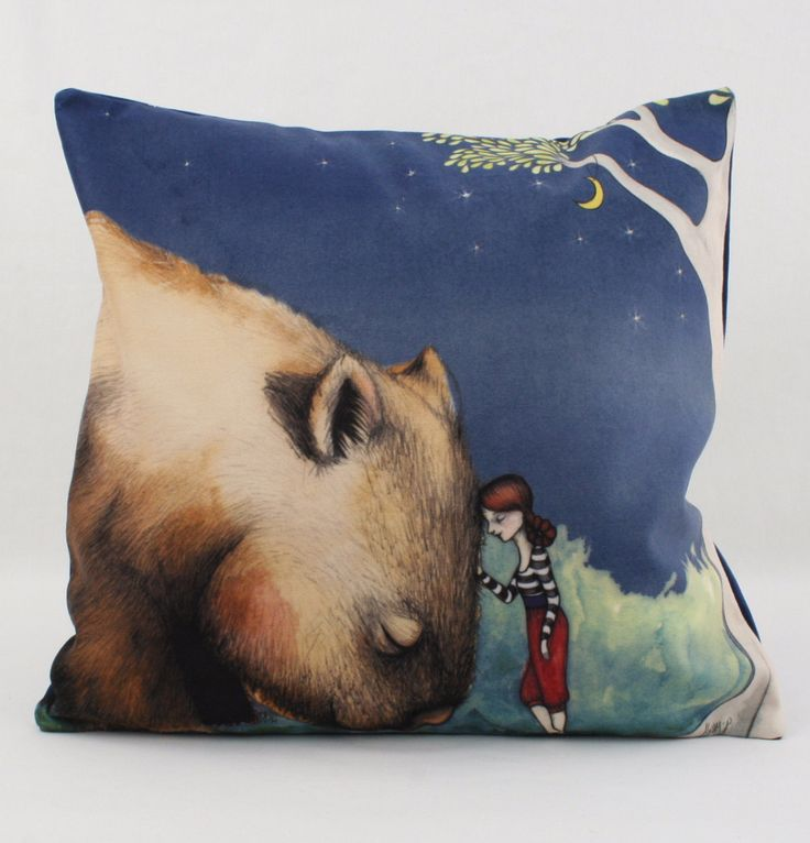 Australian Themed Giant Wombat and Girl Velveteen Cushion from Angus