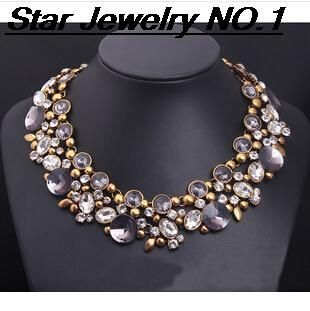Ювелирных изделий звезды мода 2014 новый продажа панк старинные камень кристалл себе чокеры ожерелье ожерелья и кулоны рождественский подарок