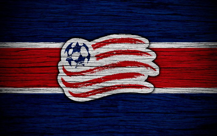 Download wallpapers New England Revolution, 4k, MLS, wooden texture, Eastern Conference, football club, USA, New England Revolution FC, soccer, logo, FC New England Revolution