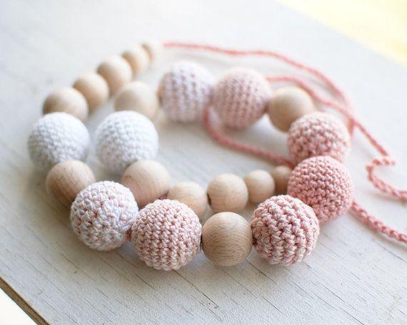Nursing necklace / Teething necklace  White Pale pink by SvetlanaN, $26.00