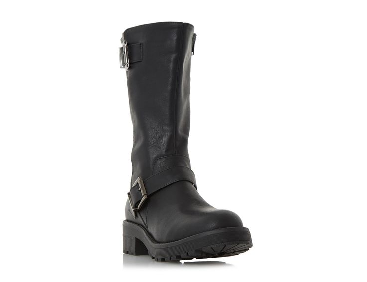 Add a tough luxe edge to your style with this rugged calf boot. A biker boot style featuring double buckle detail and inside zip fastening. The cleated sole and neat round toe complete the design.