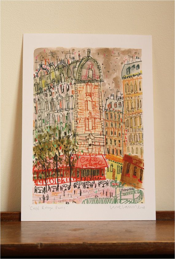 CAFE ROUGE PARIS - Signed Giclée Print taken from original mixed-media painting by artist Clare Caulfield. Paris Wall Art. French Buildings