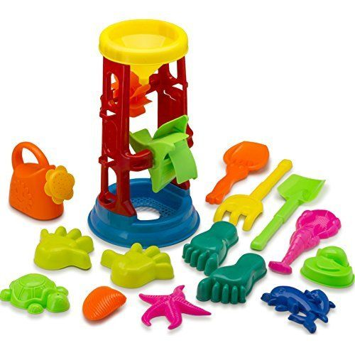 #beachaccessoriesstore Beach Toy Set with Water Wheel Assorted 15 PC | Sand Molds | Sand Sift | Shovel | Watering… #beachaccessoriesstore