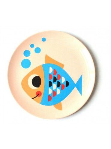 Ingela Arrhenius Bubbly Fish Kids Melamine Plate, Bimbily