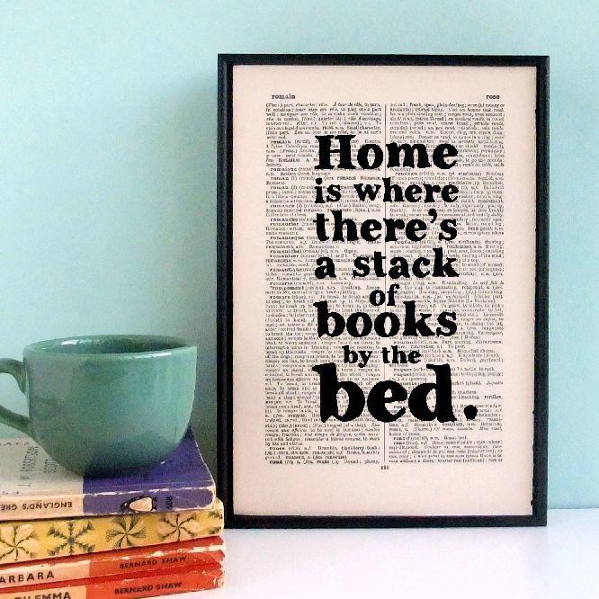 Plakát v dřevěném rámu Home is a Stack of Books   Bonami