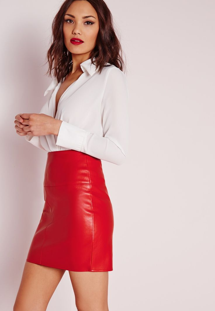 Missguided - Mini-jupe en simili cuir rouge