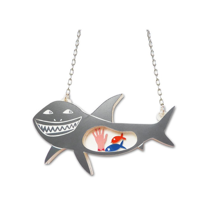 Made By White What Sharks Eat Necklace | Little Moose | Cute bags, gifts, toys, jewellery and accessories from independent designers and famous brands