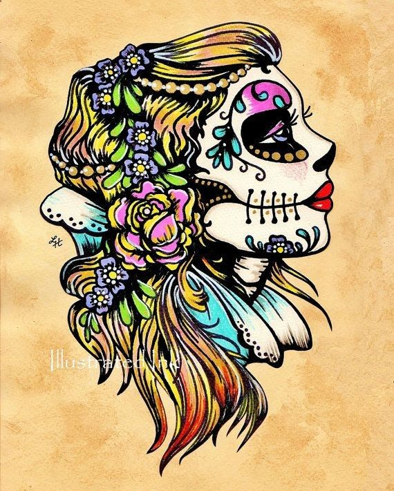 Day of the Dead Art Tattoo Flash SNOW WHITE by illustratedink, $15.50 I absolutely love tattoos like this one!! xD