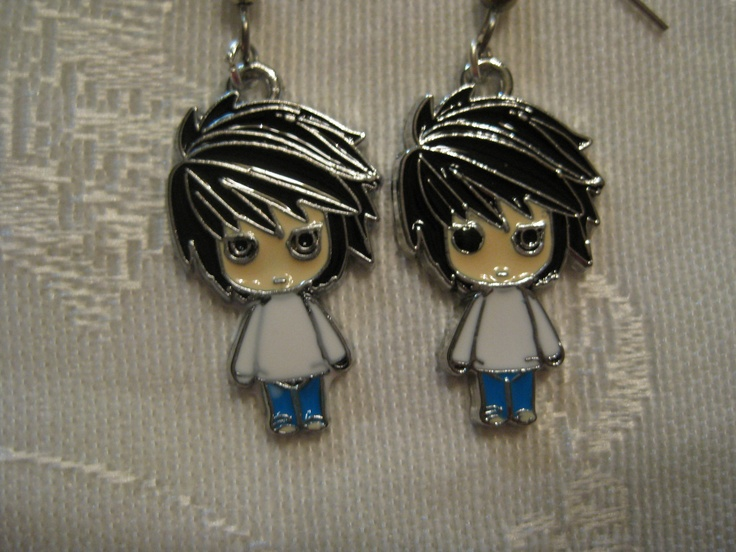 Death Note L anime earrings by amaimegumi on Etsy