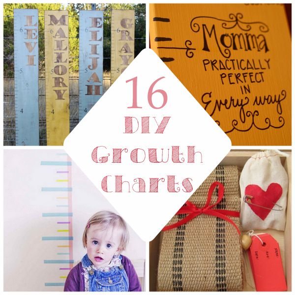 """16 darling (and easy!) DIY growth charts (loving the """"Practically Perfect in Every Way"""" one :-)  Remember the ones at the Oak Street House @Shelly Hall ?!"""