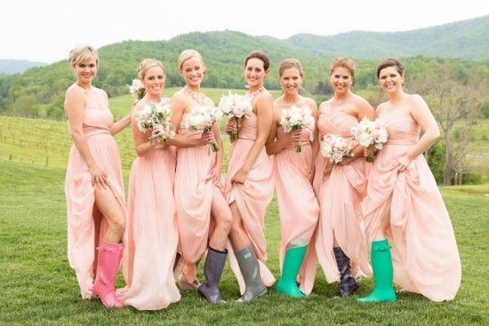 Bridesmaids in rain boots