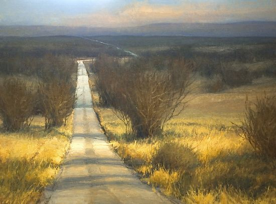 The White Road by Kim Casebeer:///A wonderfully mysterious scene. Anything could happen on a road and day like that. You might wind up in another world. Note by Roger Carrier
