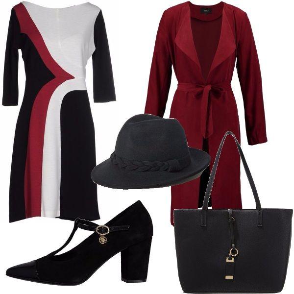 Vi propongo questo outfit: vestitino multicolore manica 3/4 , scarpe con punta stretta e tacco comodo, maxibag nera, trench bordeaux che riprende il vestito e questo cappello nero, una nota di stravaganza al look.