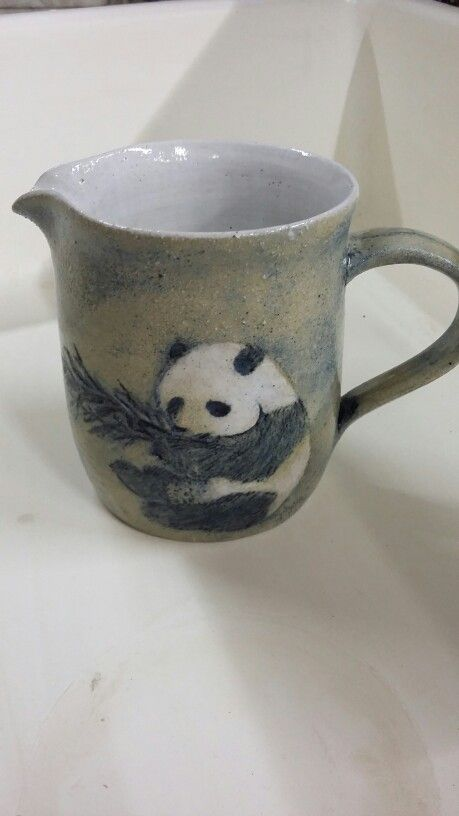 Panda jug. Sgraffito and oxides.  By Bianca Vos @earthplaystudio