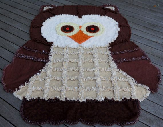 OWL RAG QUILT,Childs Rag Quilt, Keepsake Quilt,Chenille Quilt,Animal Quilt, Chocolate Brown and Cream, Brown hounds tooth check