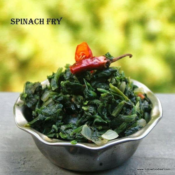 Follow foodie: Spinach Stir Fry / Spinach poriyal / கீரை பொறியல்